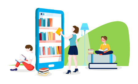 graphic of a group of people in a library